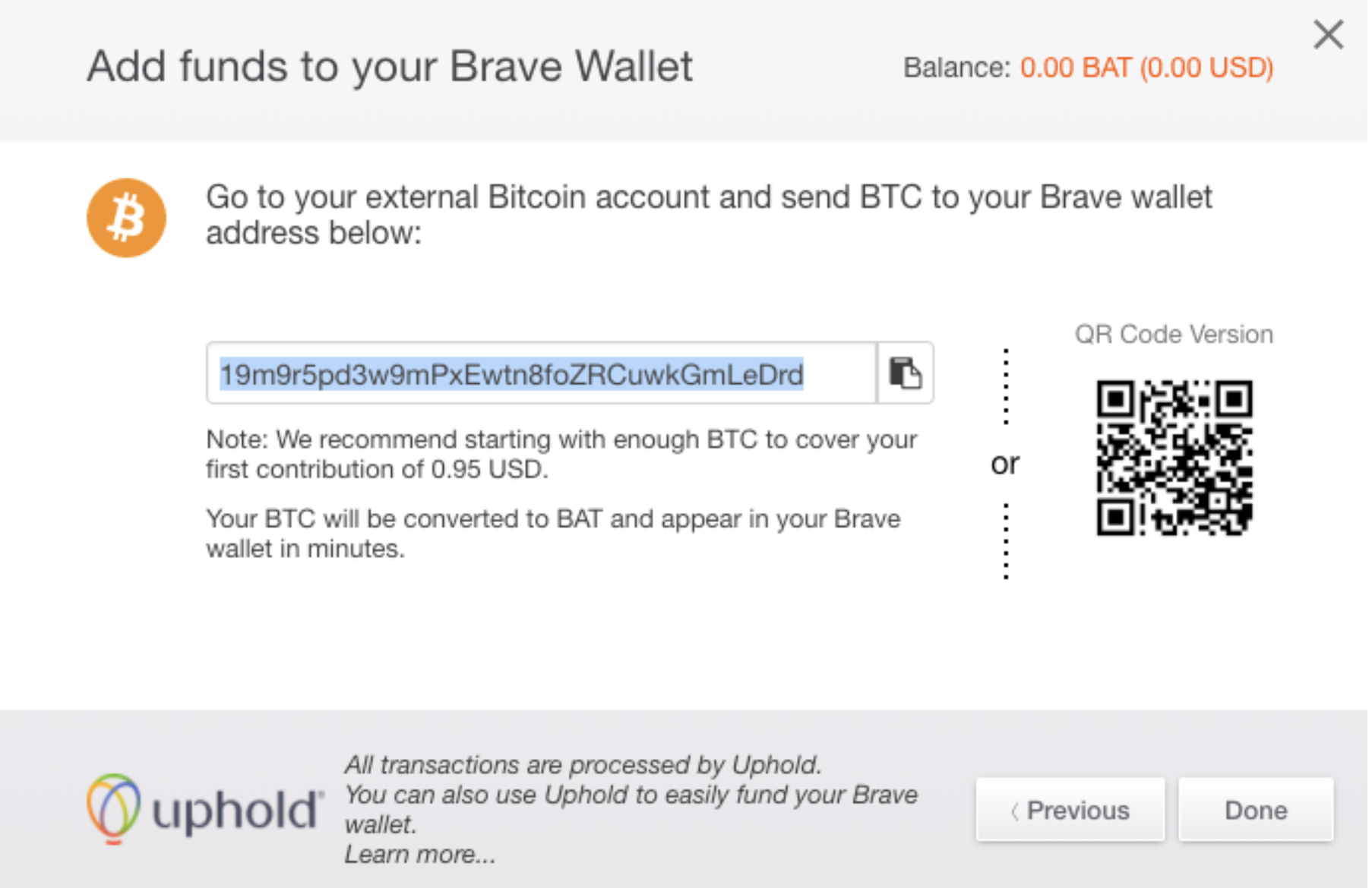 Brave Wallet Deposit address