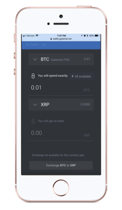 Gatehub App Interface