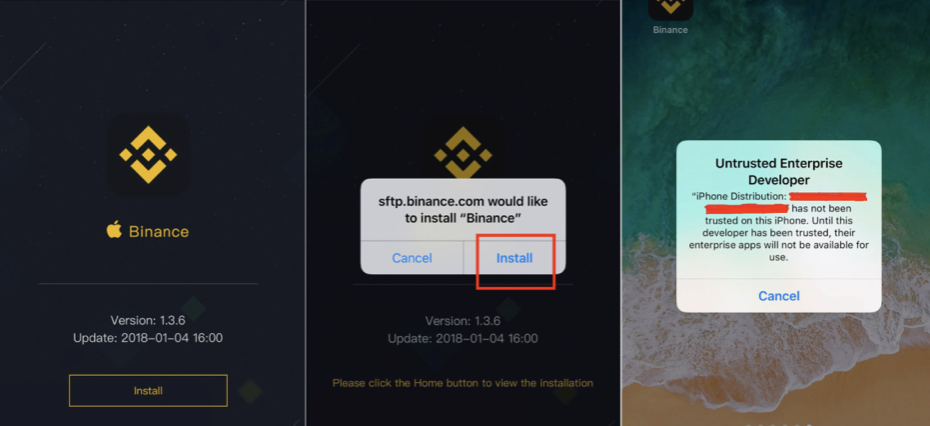 Binance iOS App installieren