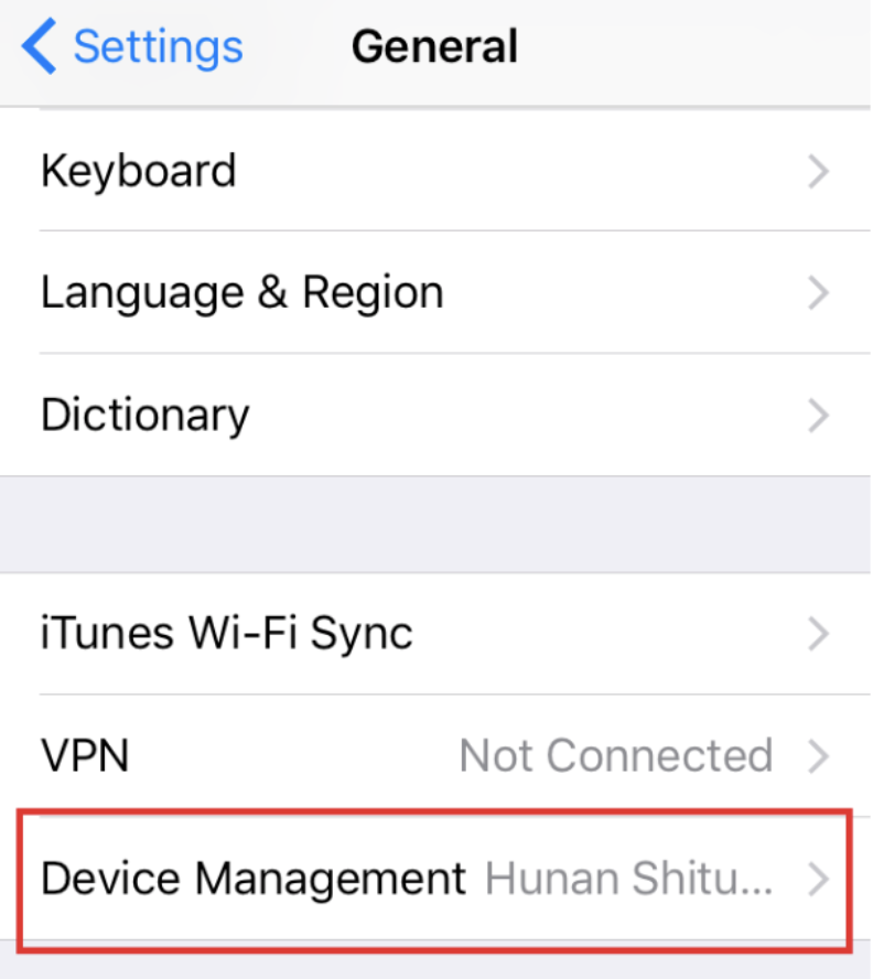 iOS Settings Device Management