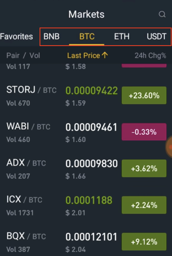 Binance iOS App Favorite markets