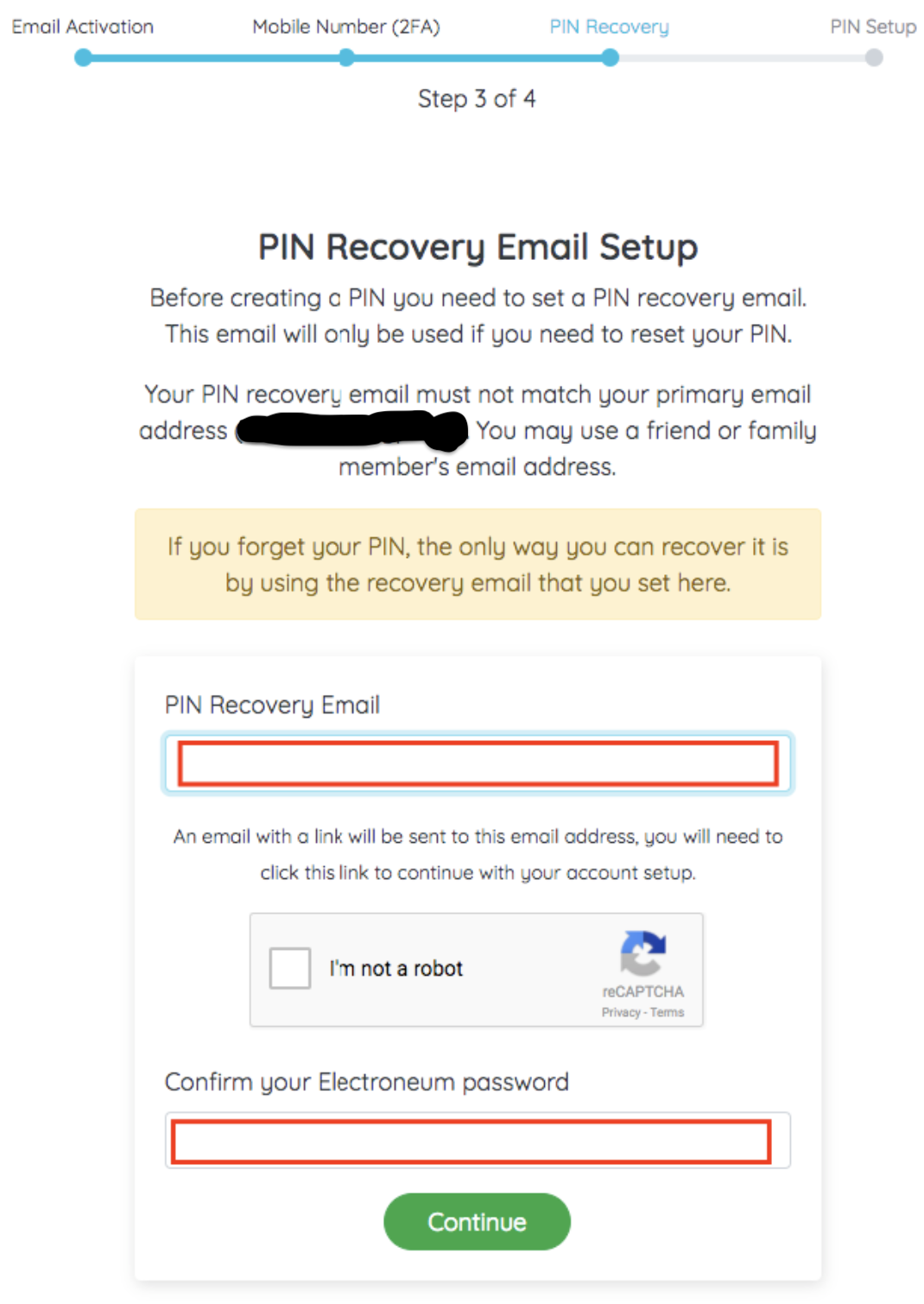 Wallet Recovery Email Setup