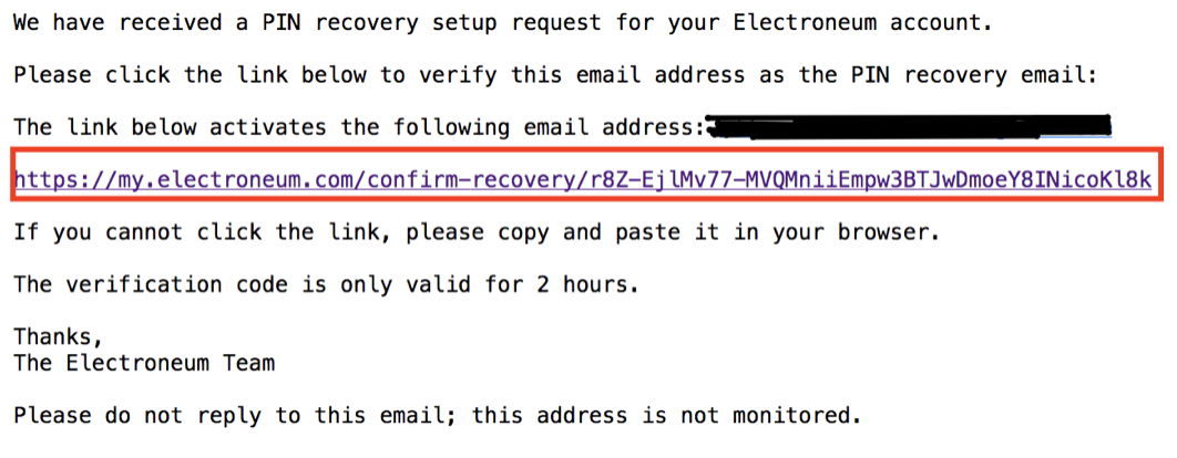 Wallet Recovery Email confirmation
