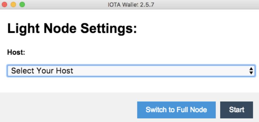 Sélectionnez l'hôte du portefeuille IOTA