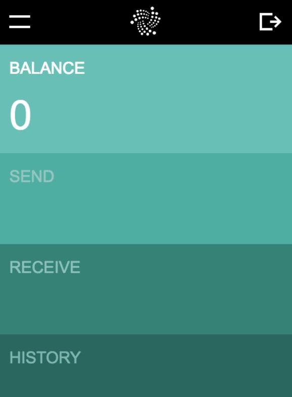 GUI IOTA Wallet-startskärm