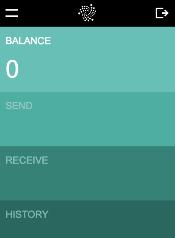 GUI IOTA Wallet-startscherm