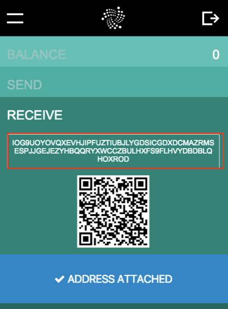 Adresse de l'expéditeur du portefeuille IOTA