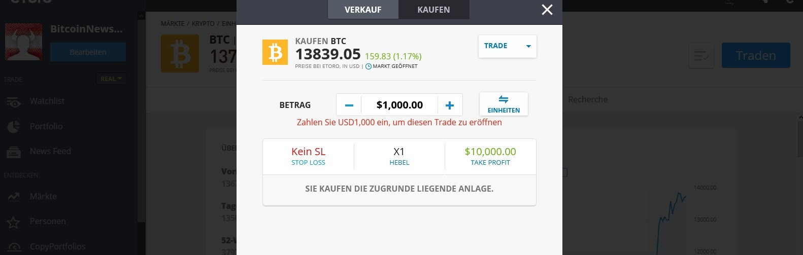 Panoramica di eToro Bitcoin Window Cure Compra e vendi