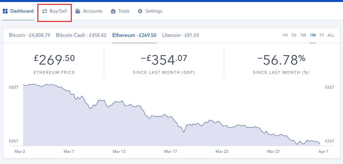 C贸mo navegar para Comprar / Vender en Coinbase