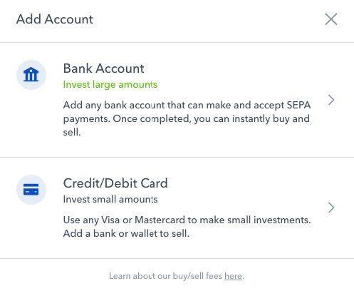 Agregar una cuenta bancaria o tarjeta de cr茅dito / d茅bito a su cuenta de Coinbase
