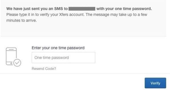 Coinbase xfer account SMS verification
