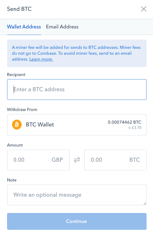 Coinbase exchange withdrawal screen