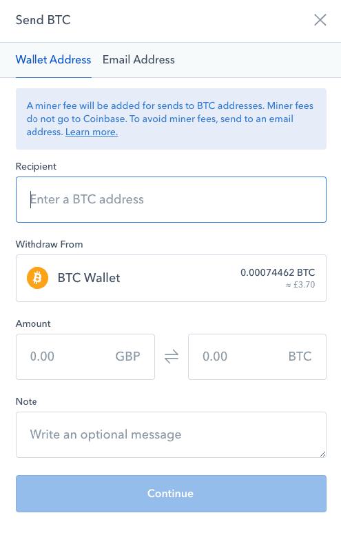 Coinbase-uitwisselingsscherm