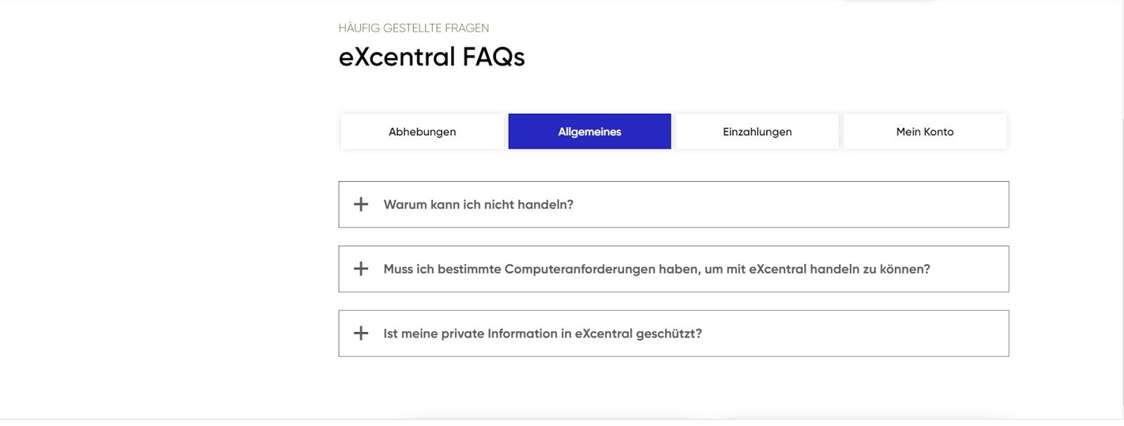 ExCentral customer service and website FAQ overview