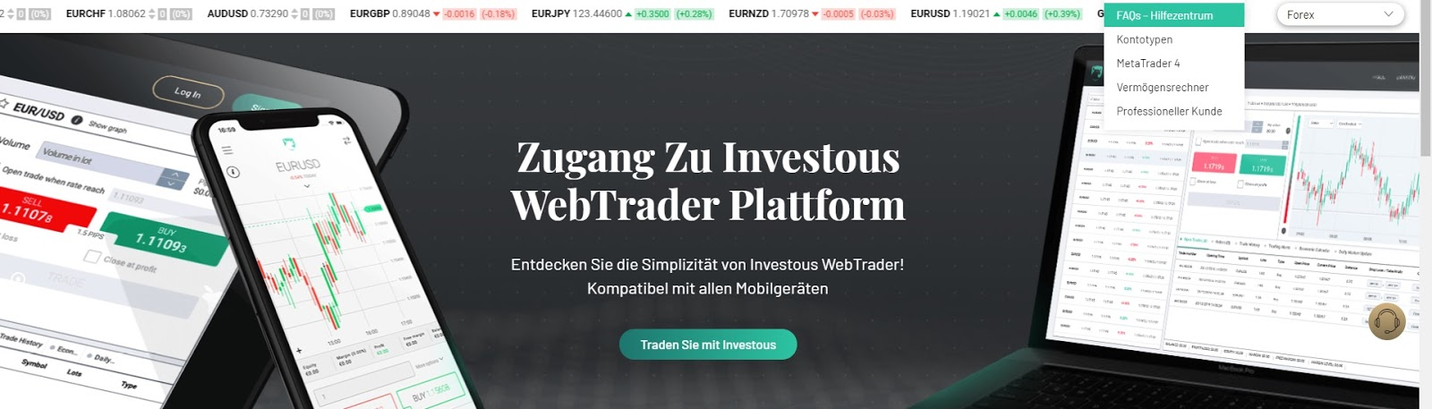 Plataforma WebTrader invertida