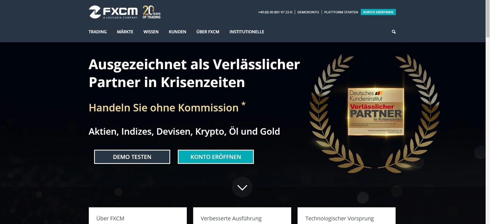 FXCM Webseite