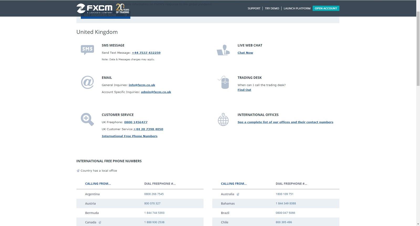 FXCM Kundenservice und Support