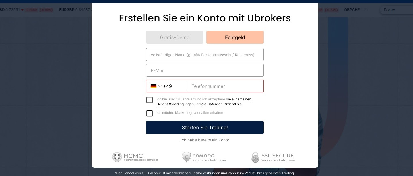 Ubrokers account opening and registration