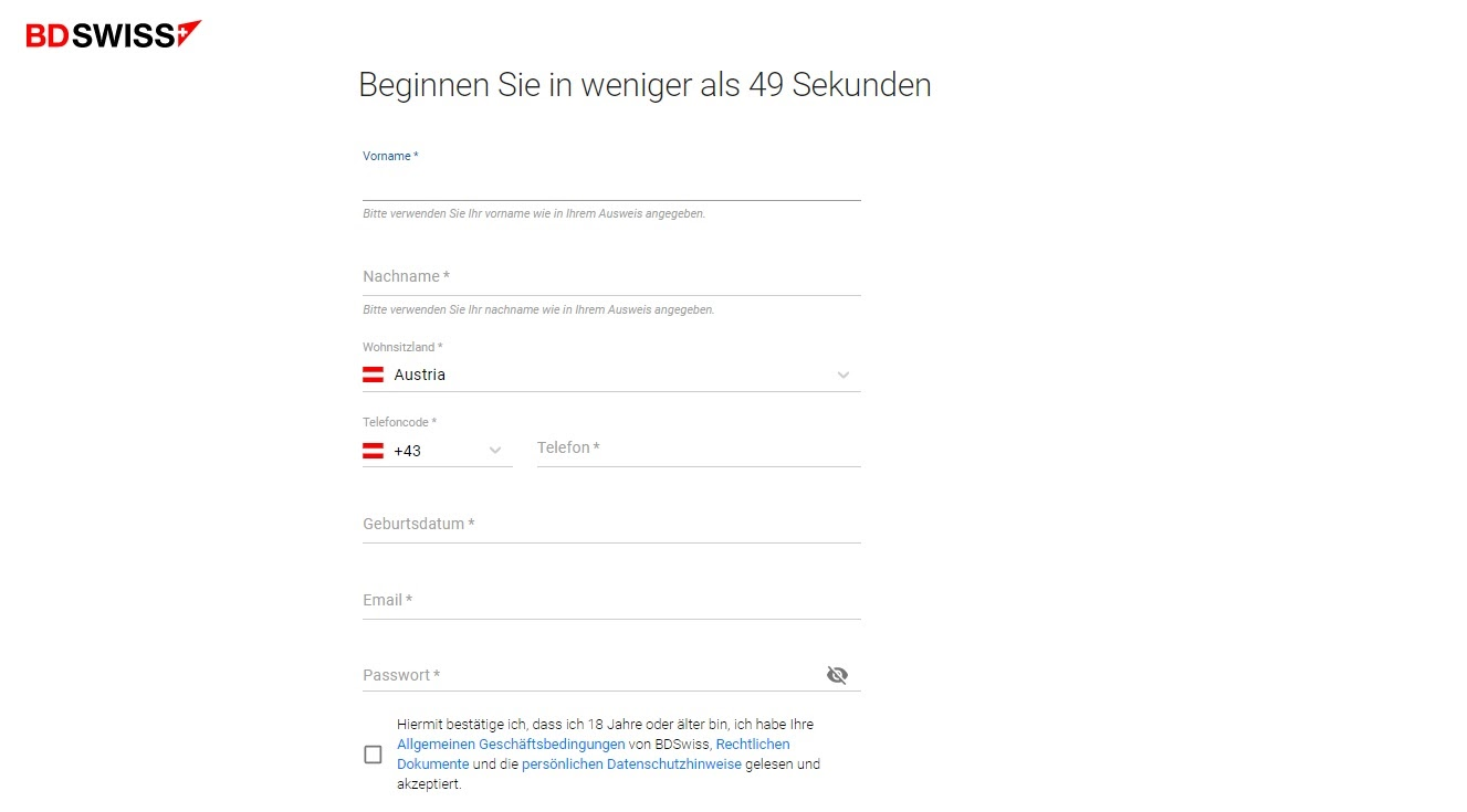 BDSwiss Kontoeröffnung und Registrierung