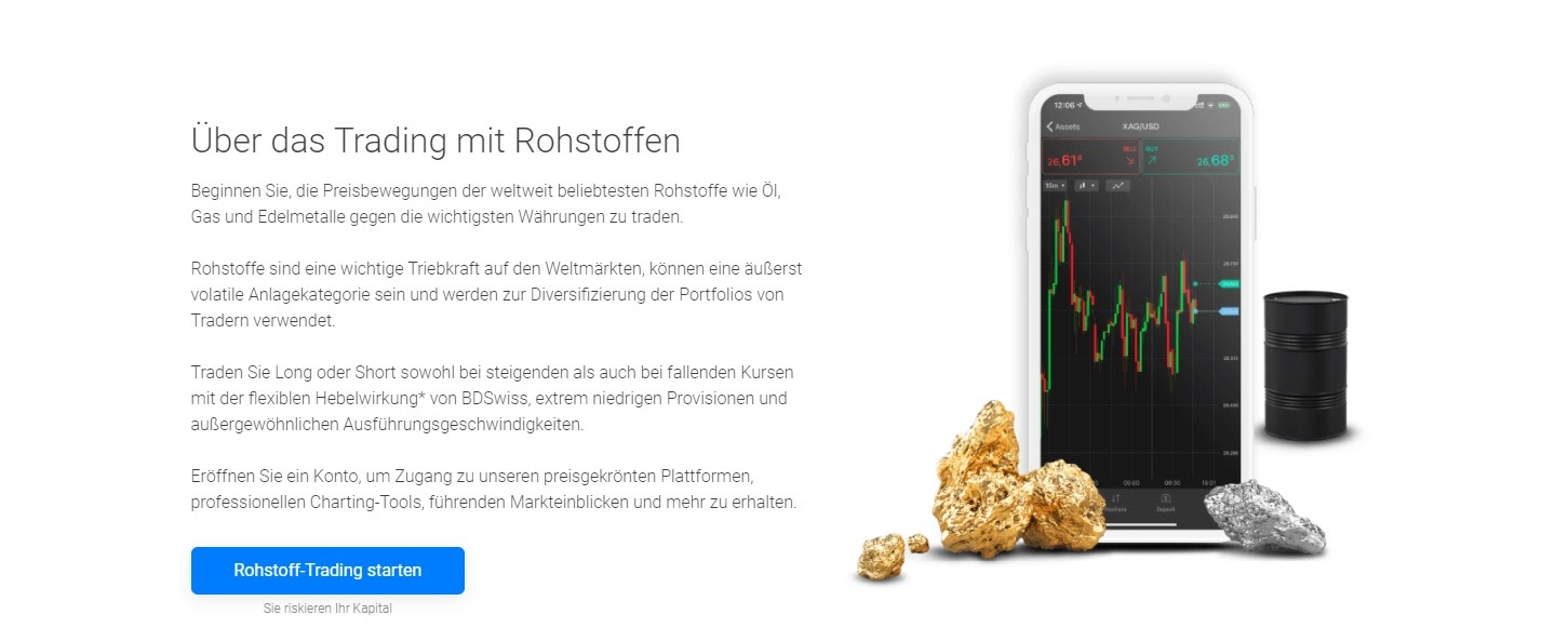 BDSwiss raw materials trading