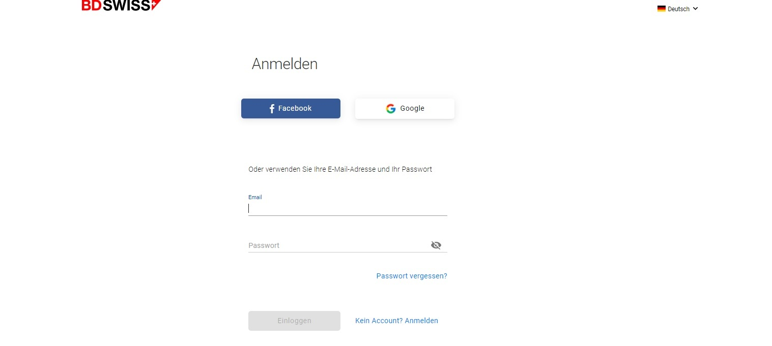 BDSwiss registration options