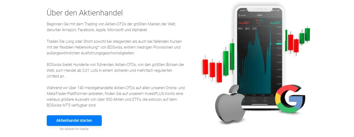 BDSwiss trading d'actions