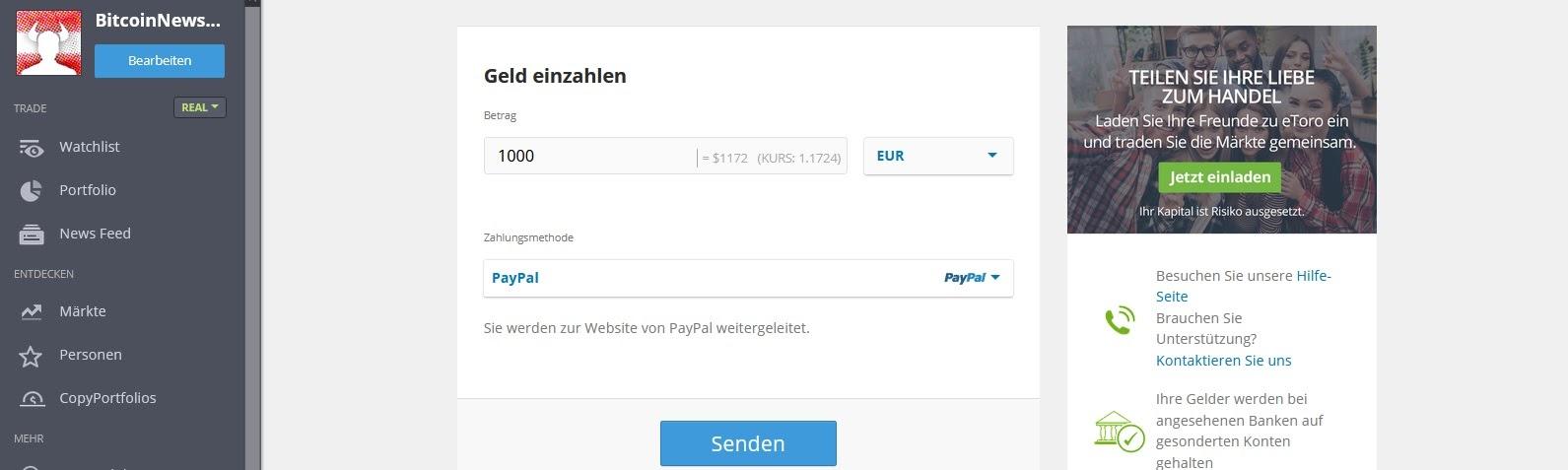 Deposita denaro eToro tramite PayPal