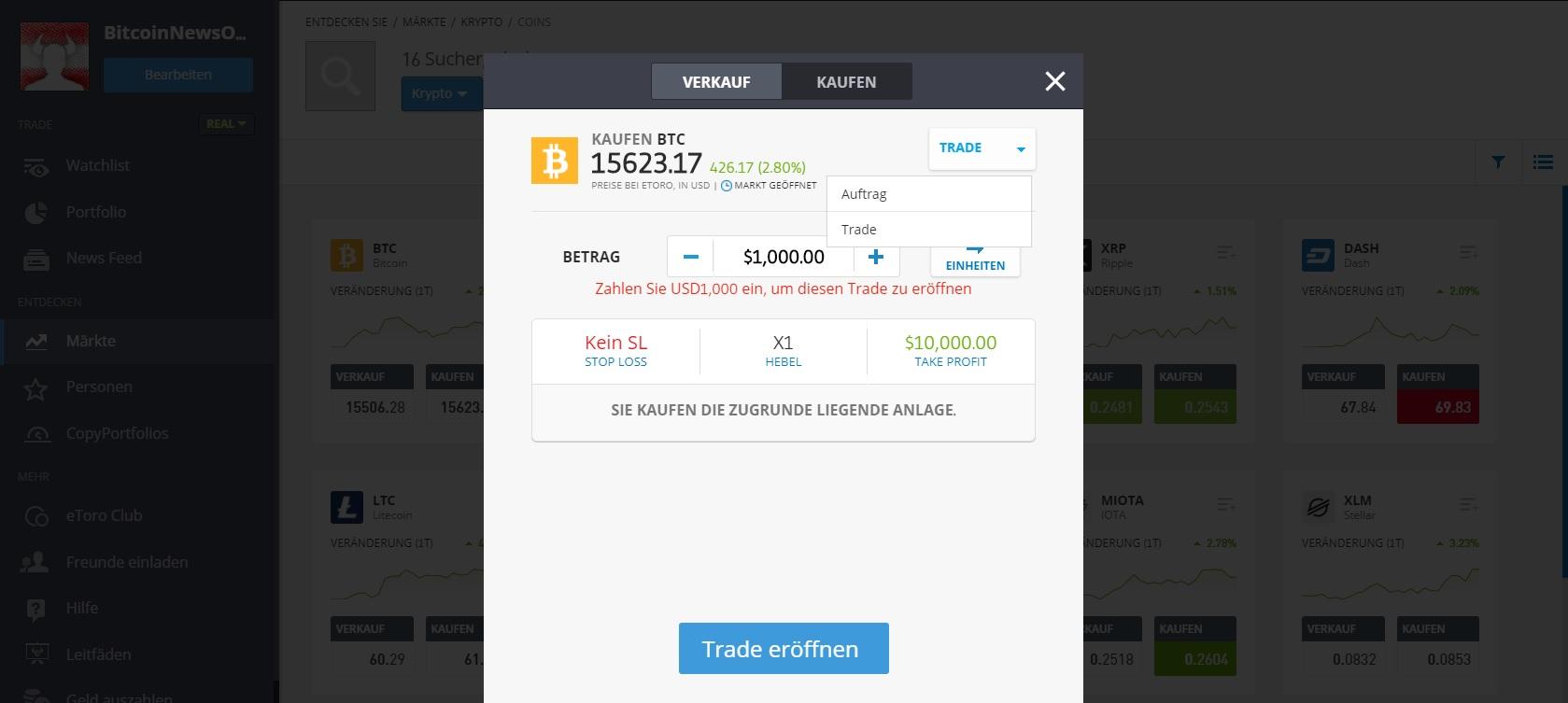 Kjøp Bitcoin på eToro