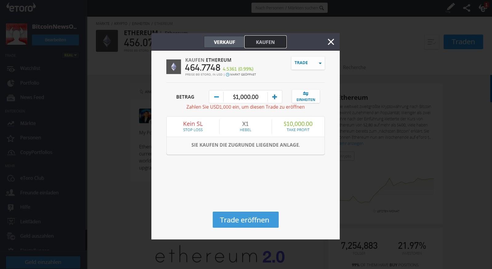 Cours d'achat eToro Ethereum et aperçu des prix