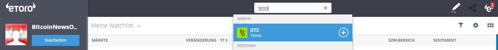 eToro Markets Finding Tezos (XTZ)