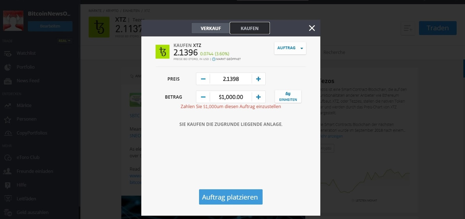 eToro Tezos (XTZ) Buy Option