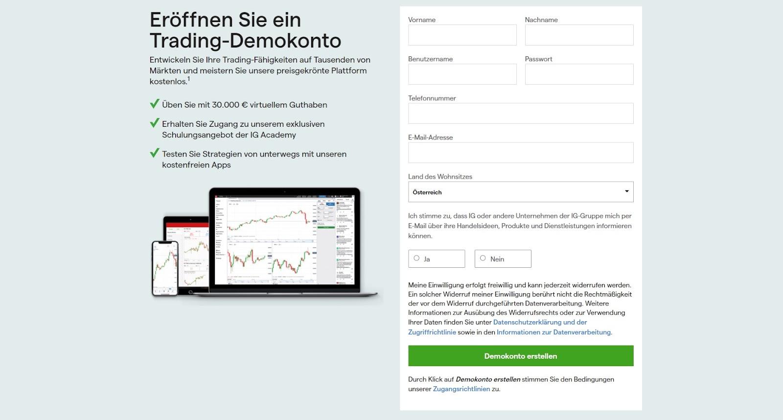 Ouverture d'un compte démo IG Trading
