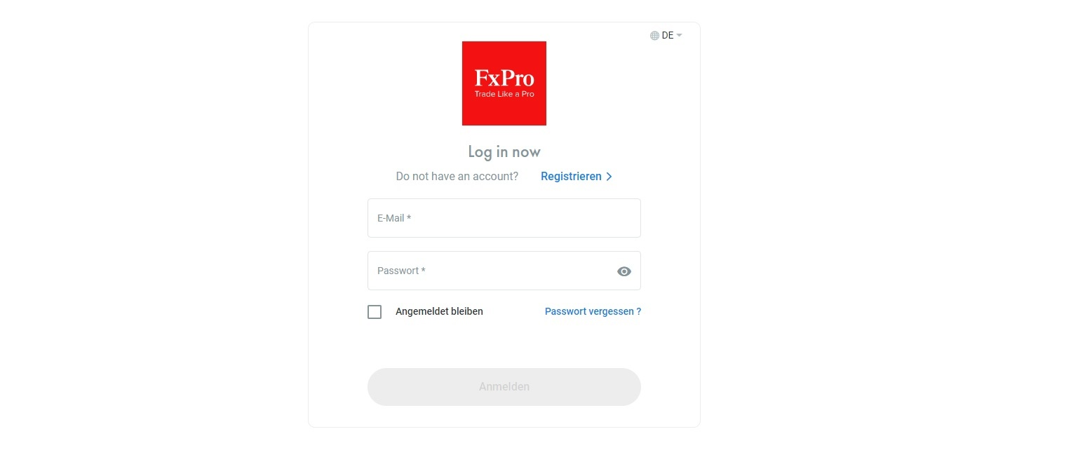 FxPro account opening completed and account login
