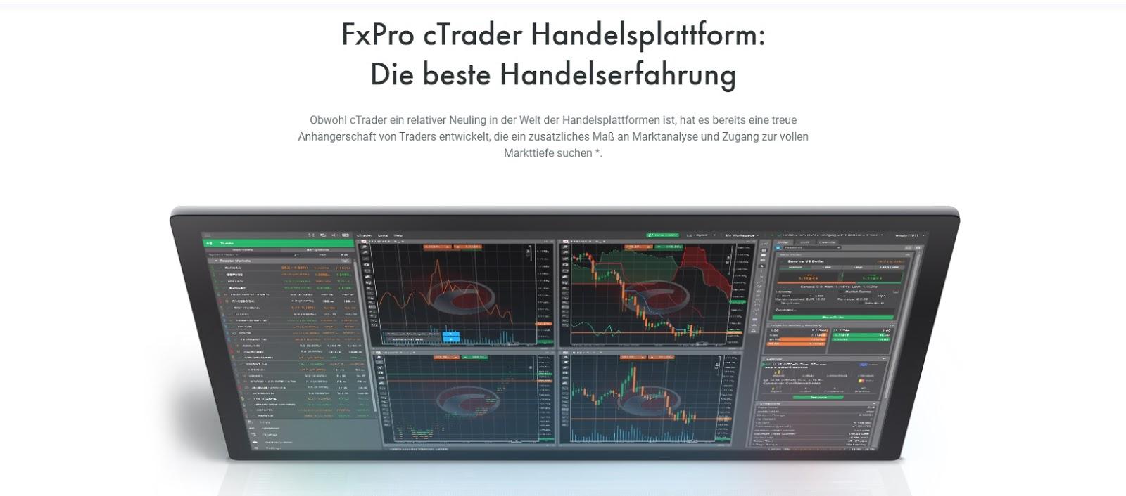 FxPro handelsplatform cTrader in één oogopslag