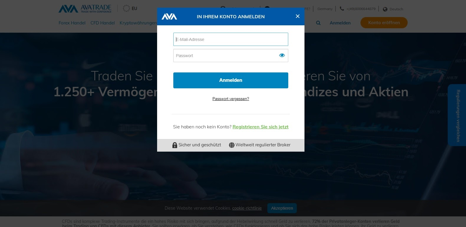 Ouverture du compte AvaTrade terminée et connexion au compte