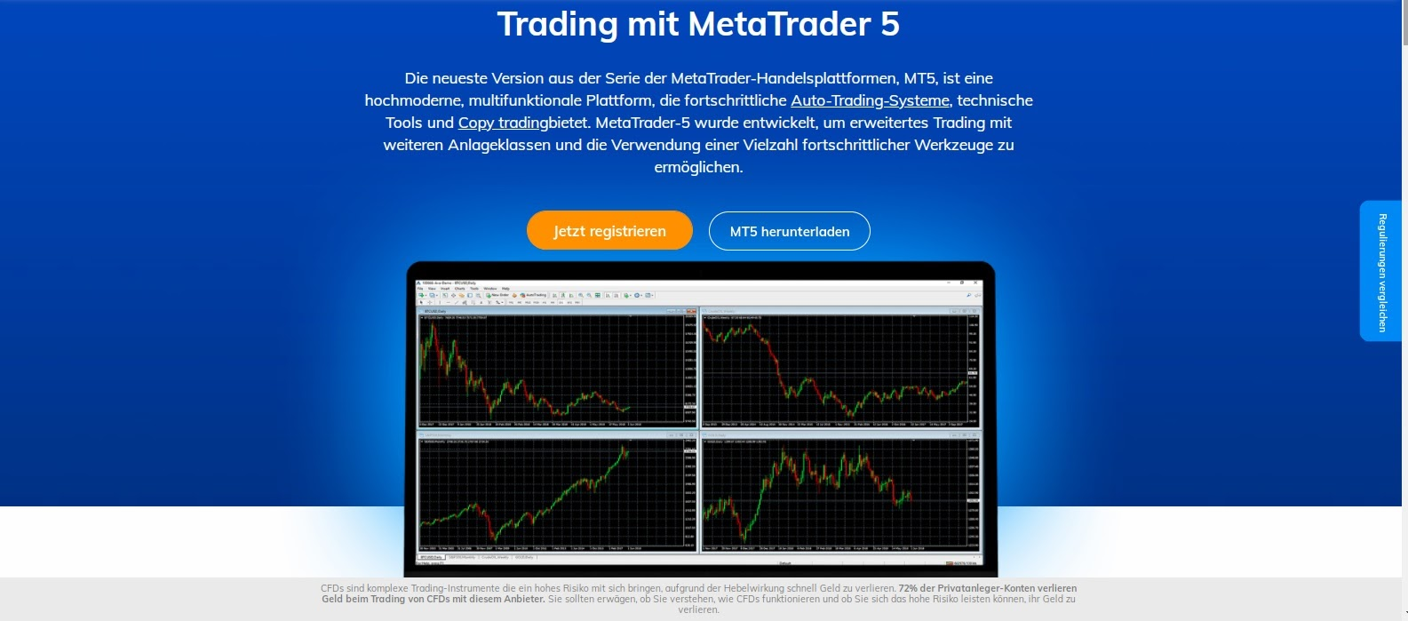 "La plateforme de trading AvaTrade MetaTrader 5 en un coup d'Å""il"