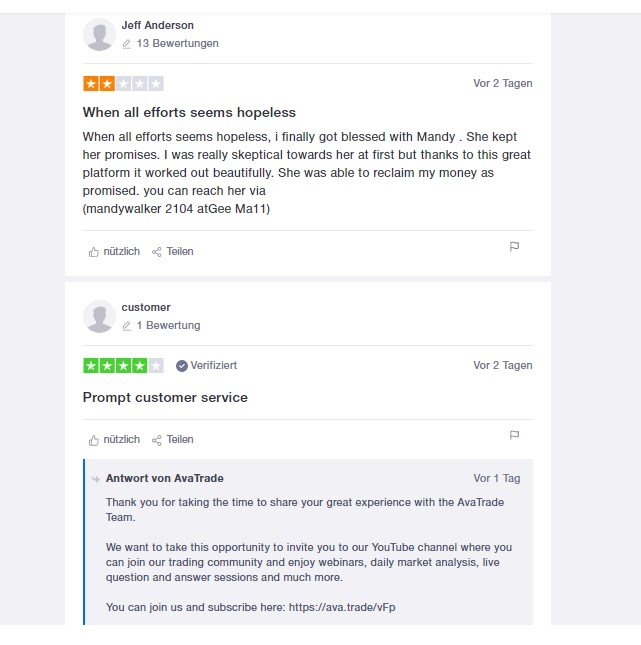 Opinions des utilisateurs d'AvaTrade