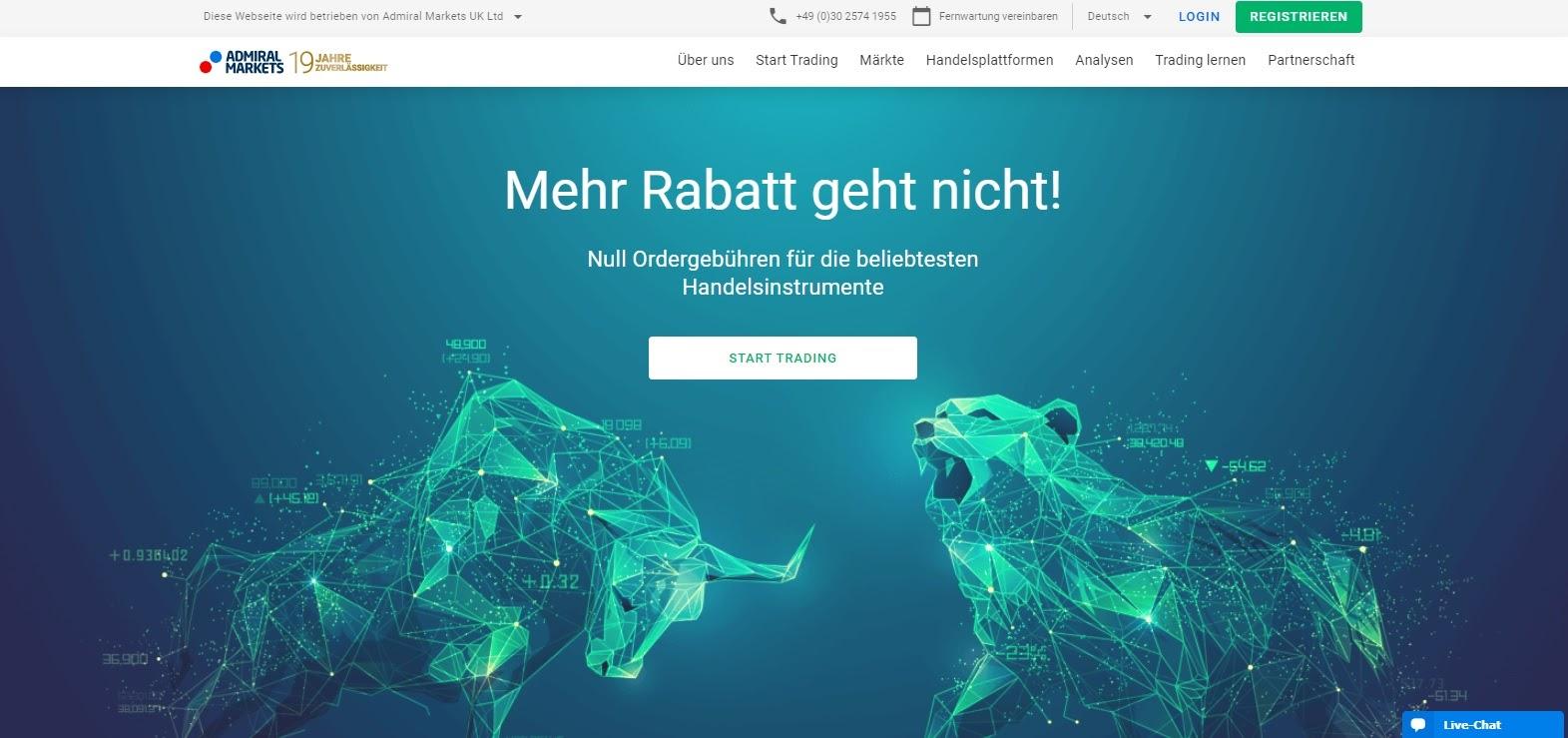 Admiral Markets webbplats och logotyp