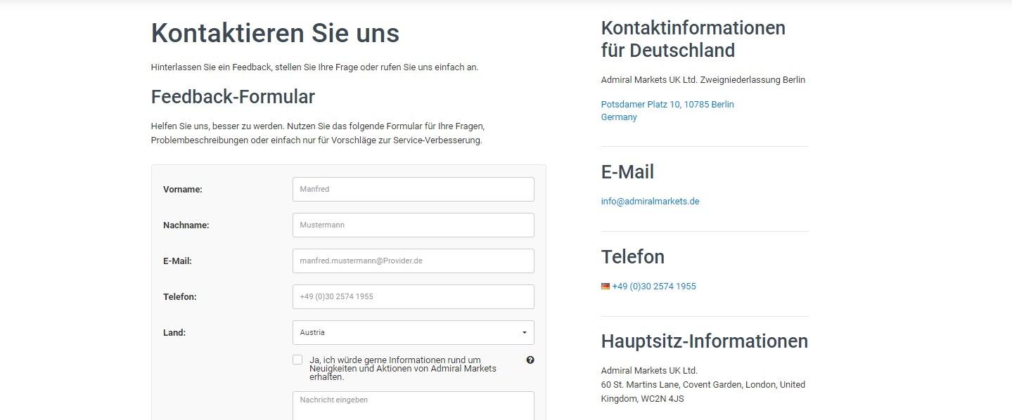 Kontaktformulär för Admiral Markets kundtjänst