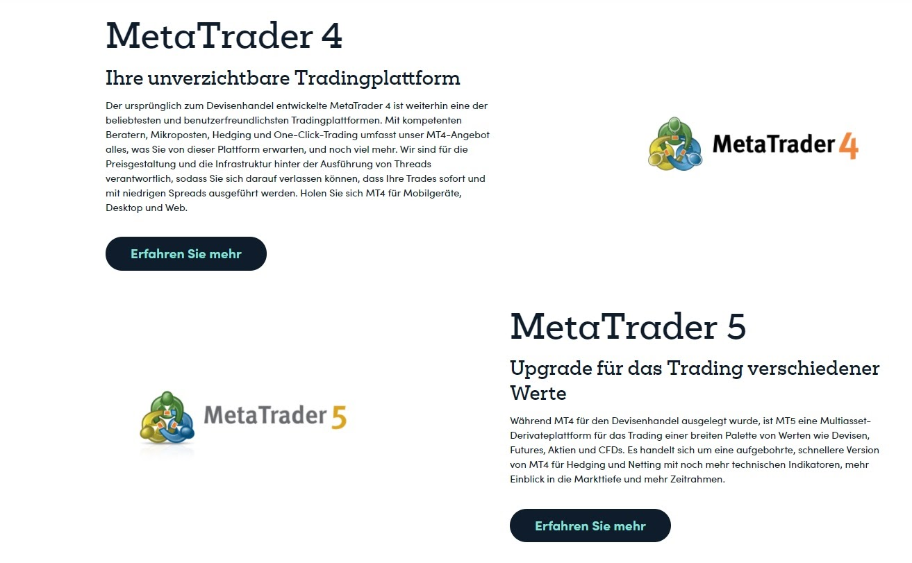Markets Broker trading platforms MT4 and MT5 at a glance