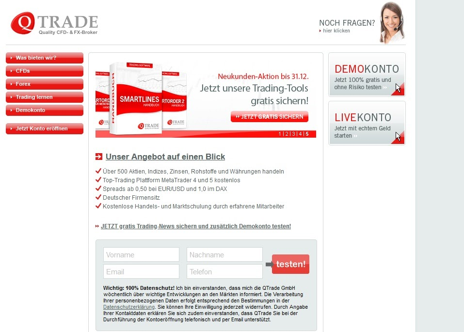 QTrade website en logo
