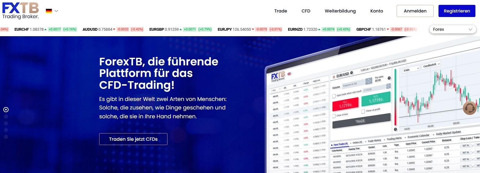 FXTB Webseite und Logo