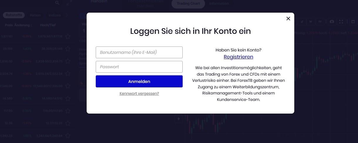 FXTB Exchange Konto Login