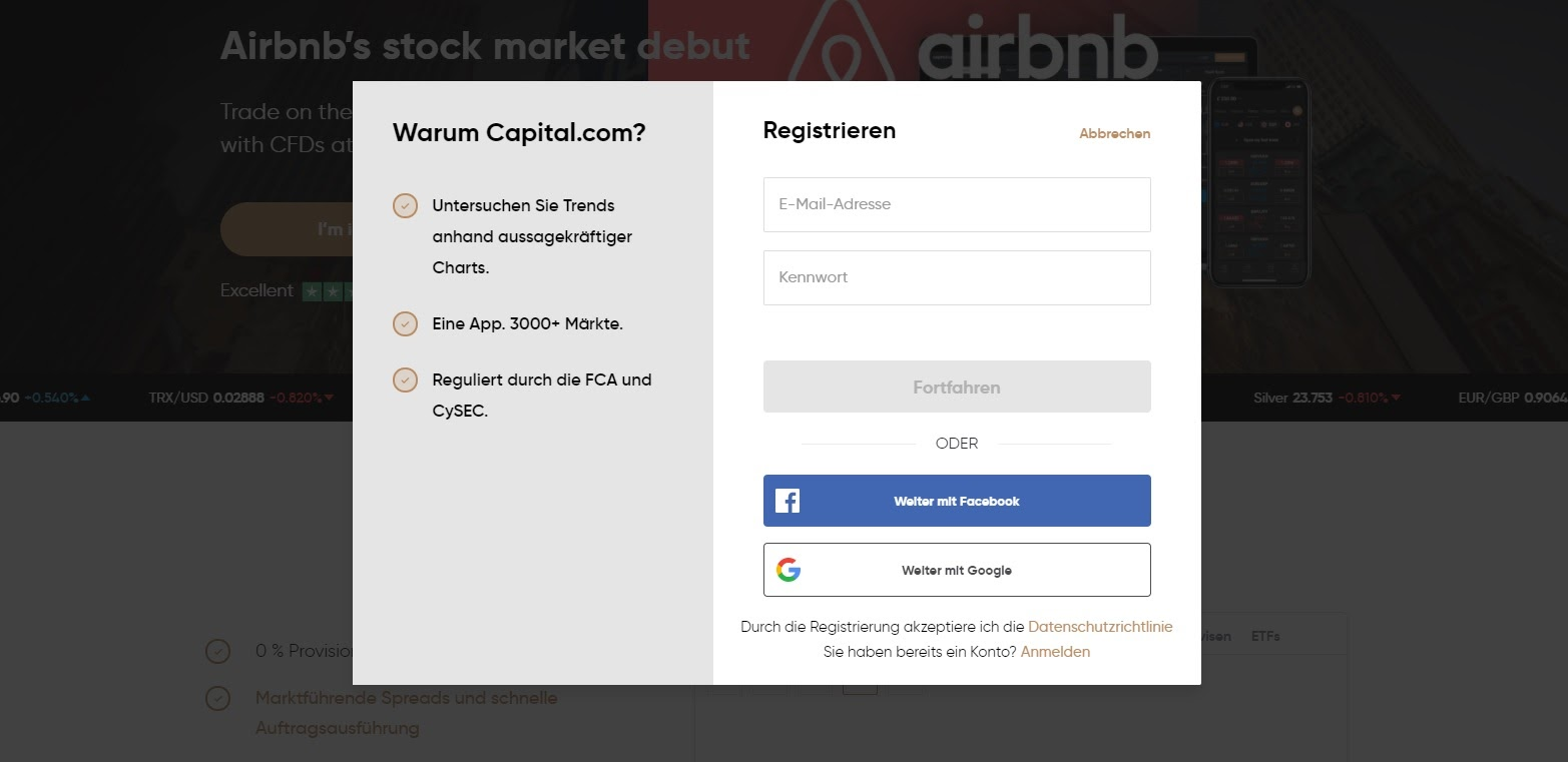 Apertura y registro de cuenta en Capital.com