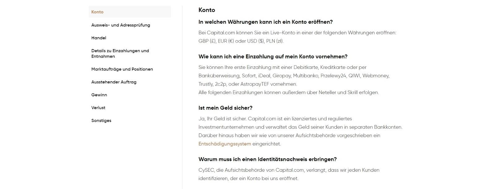 Capital.com customer service FAQ