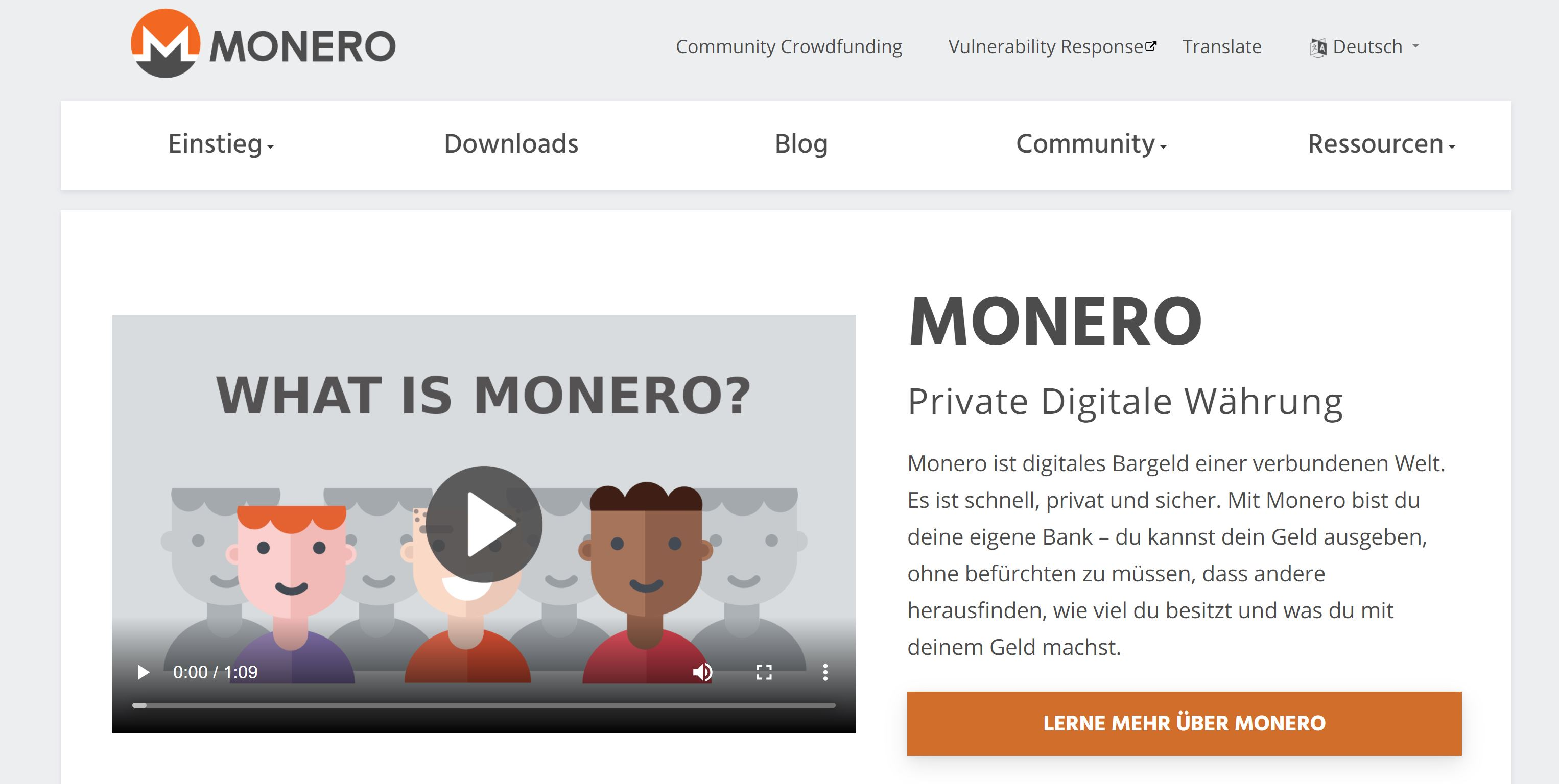 Monero portemonnee Monero-website