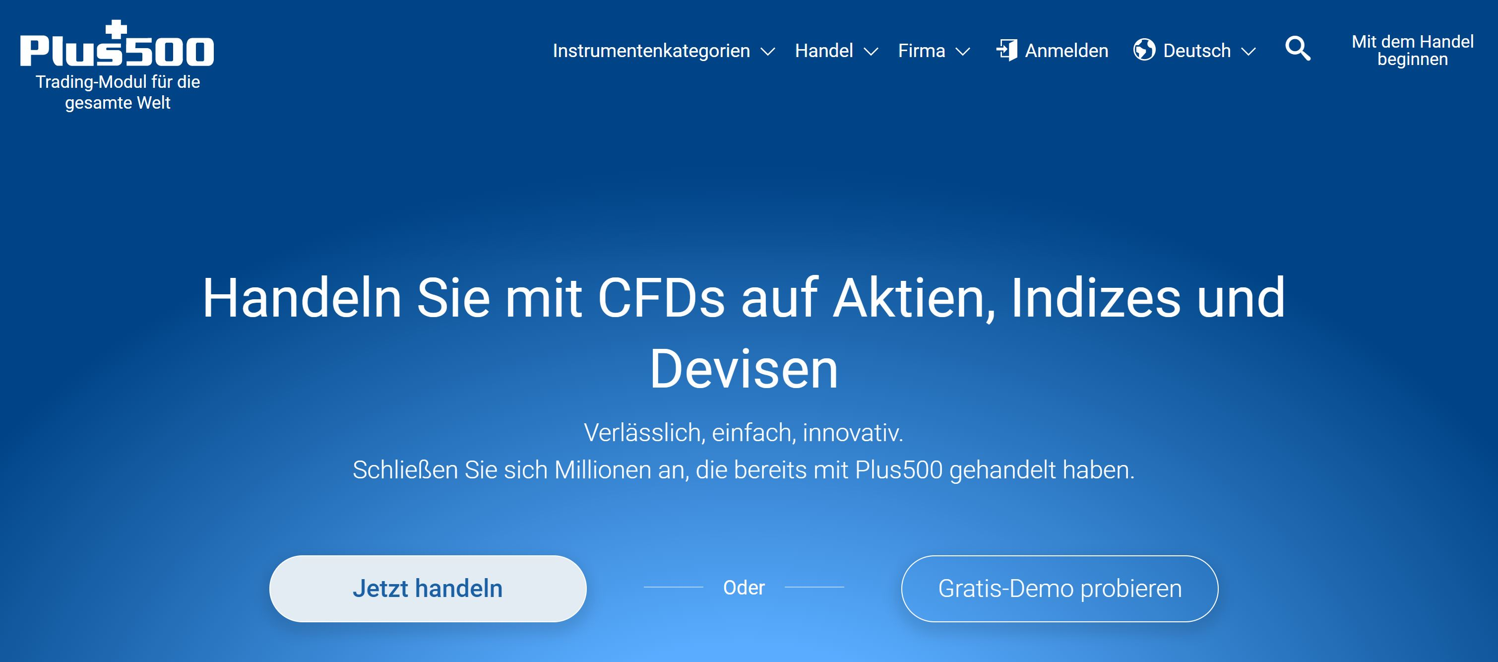 Plus500 website and logo