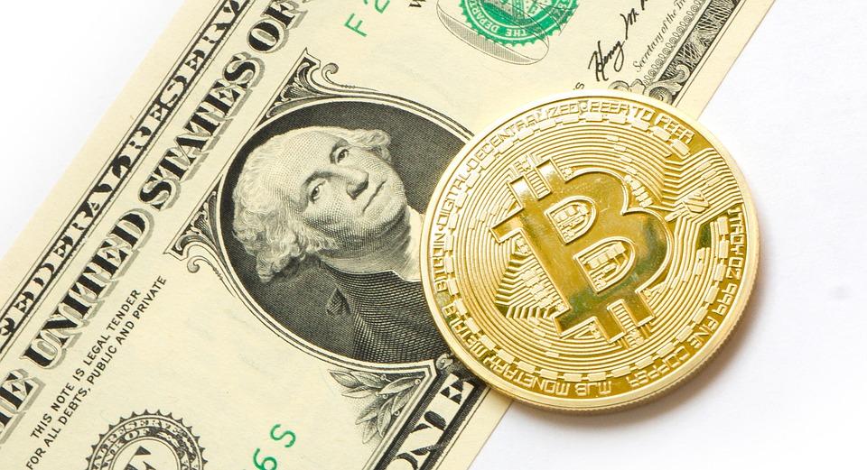Биткойн и долларовая банкнота лежат рядом друг с другом на столе