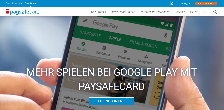 Paysafecards webbplats och logotyp