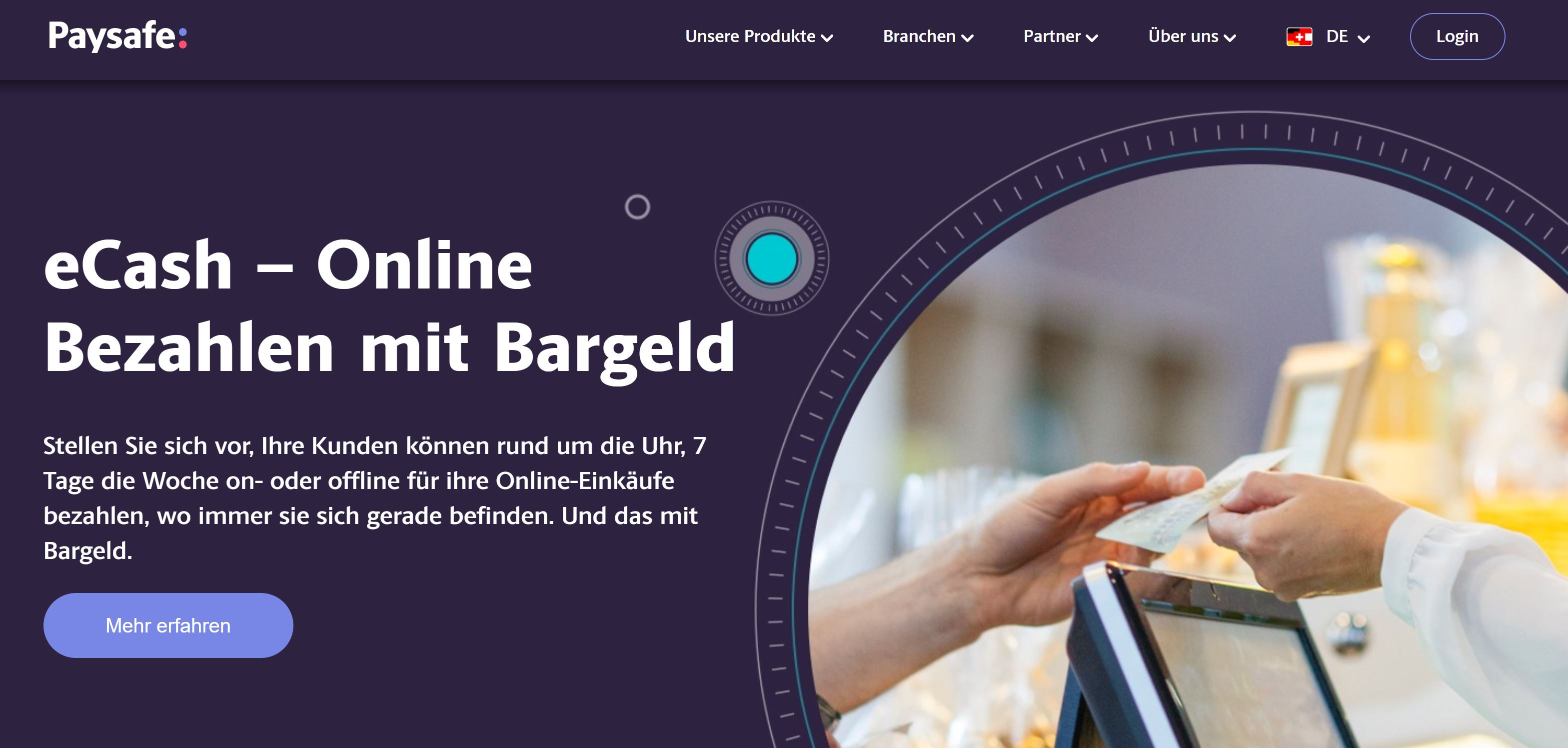 Paysafe webbplats och logotyp